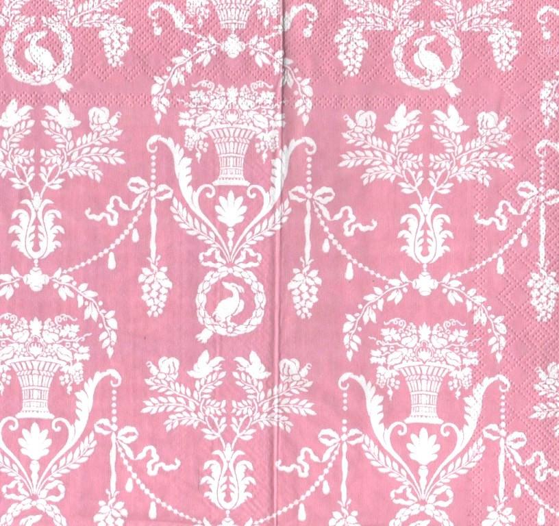 Салфетки декупажные Орнамент на розовом фоне 5304