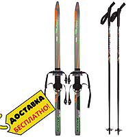 Беговые лыжи спортивные прогулочные с насечками Комплект с палками Zelart 130 см Оранжевый (SK-0881-130B)