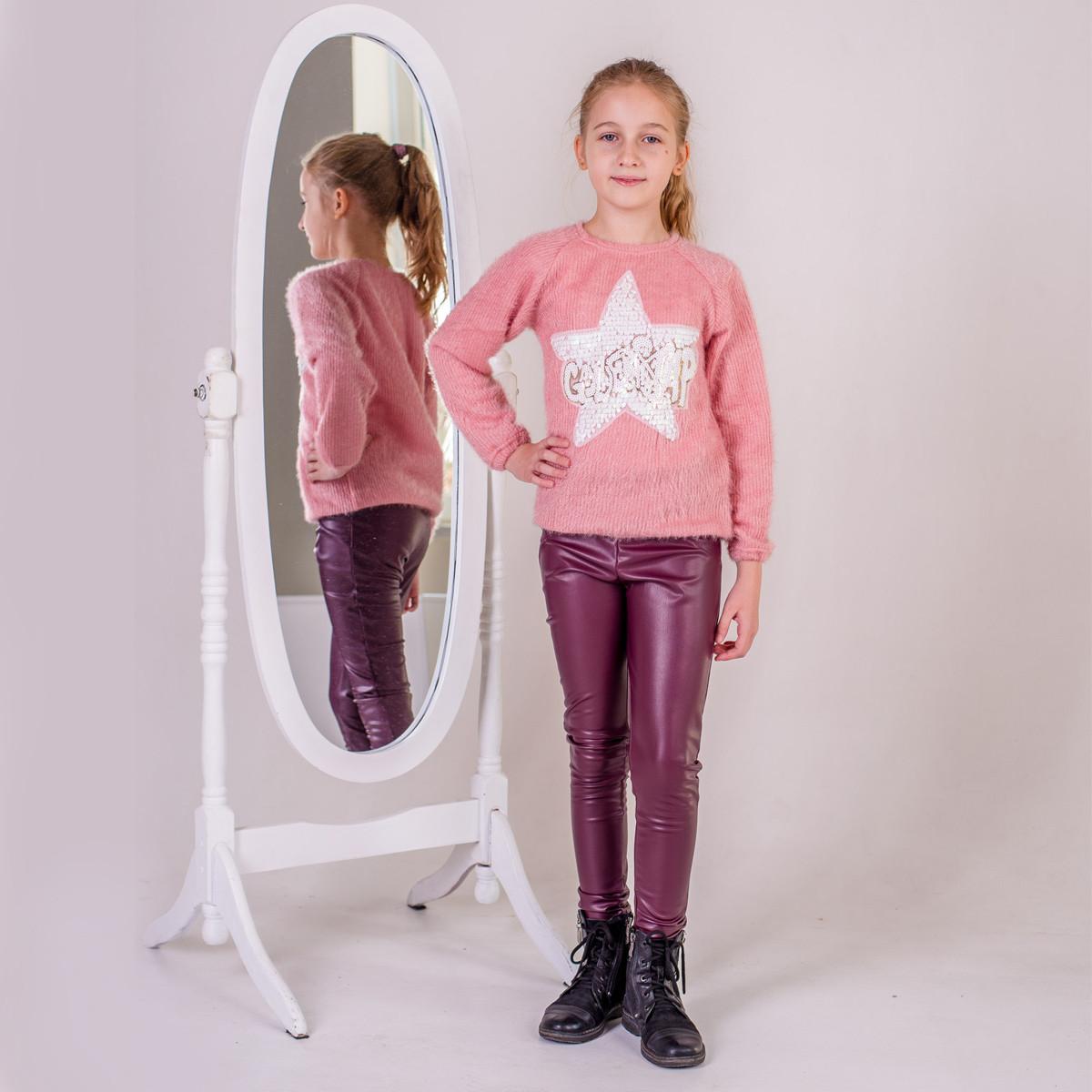 Лосины кожаные р.158,164 на велюре  SmileTime для девочки Dusty, бордо