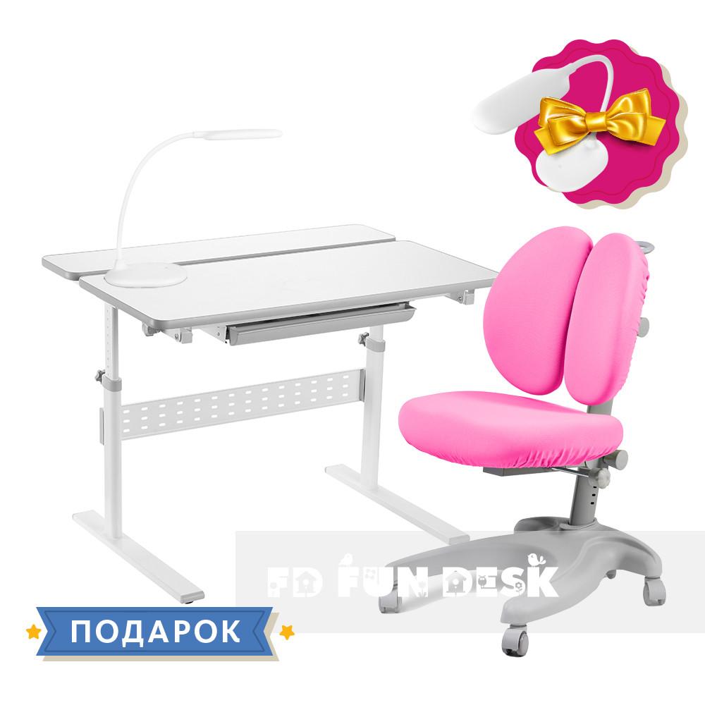 Комплект для школьника 👨🏫 парта-трансформер Fundesk Colore Grey + эргономичное кресло FunDesk Solerte Pink