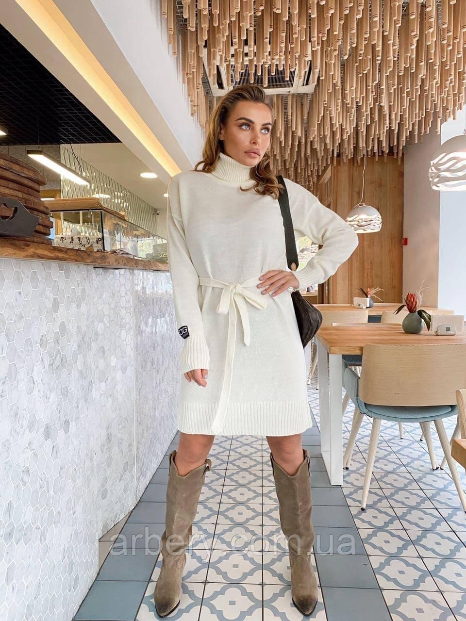 Шикарное шерстяное платье-гольф с поясом