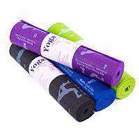 Йогамат, коврик для фитнеса, с рисунком 61*173*0,6см, PVC, цвета в ассортименте