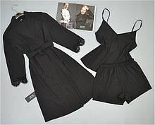Чорний халат, піжама ( футболка шорти).Комплект.