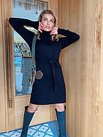 Шикарное шерстяное платье-гольф с поясом, фото 1
