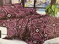 Двуспальный комплект постельного белья бордовий из полиэстера «Руна»