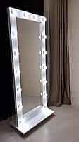Туалетное гримерное визажное зеркало с подсветкой на подставке с колесиками Белое