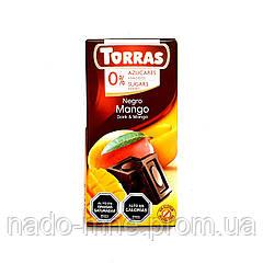 Шоколад чорний без глютену і цукру Torras Negro Mango, 75 г