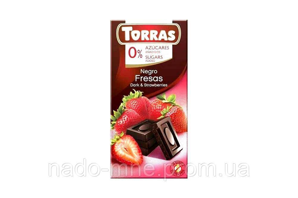 Шоколад черный без глютена и сахара Torras Negro Fresas Dark & Strawberries, 75 г