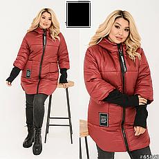 Куртка женская демисезонная с капюшоном размеры:48-62, фото 3
