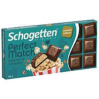 Шоколад молочный Limited Edition Schogetten Perfect Match Popcorn & Caramel 100г, фото 1