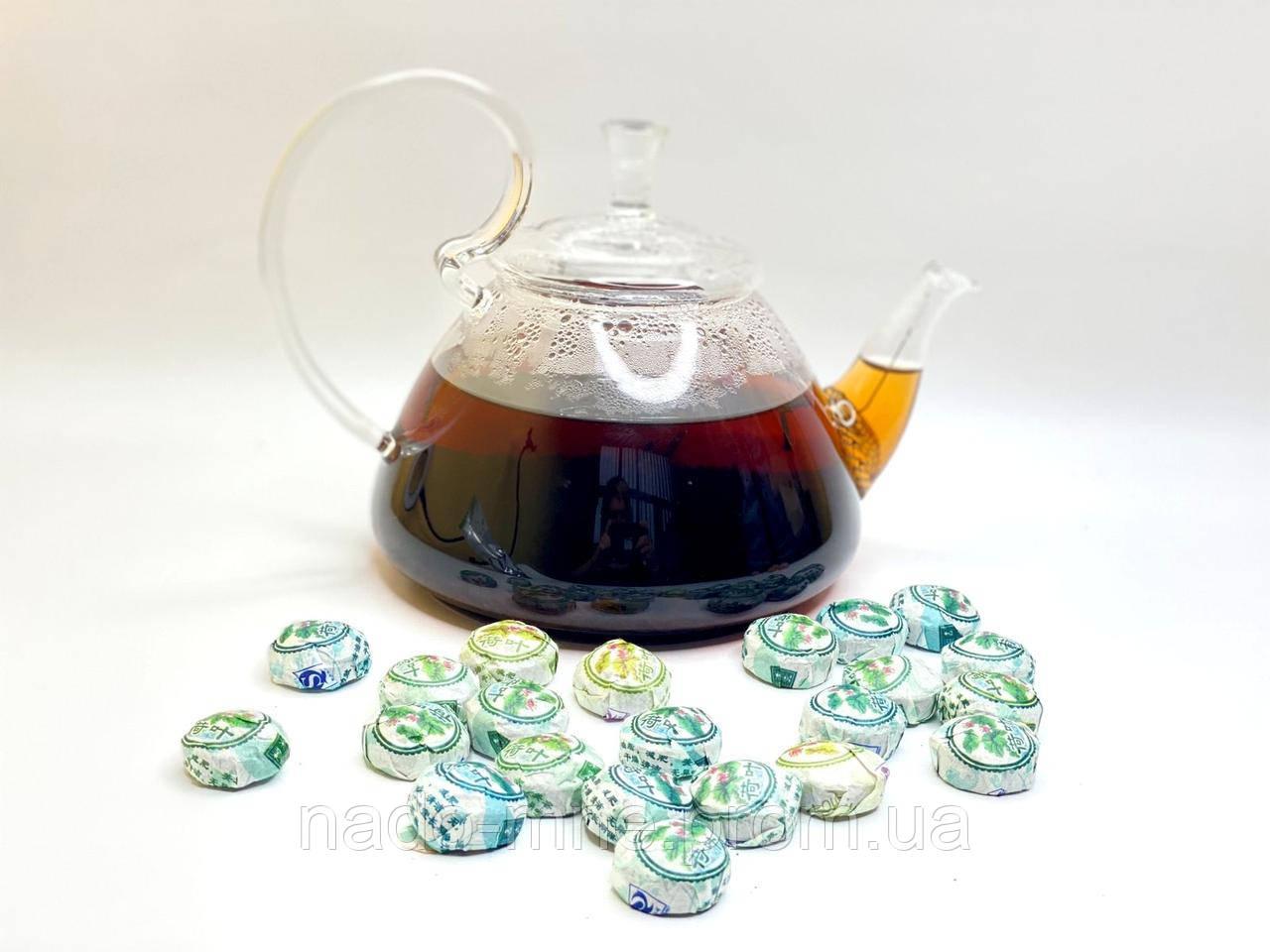 Чай элитный прессованный черный, Шу Пуэр Мини Точа с хризантемой, 4-6 г