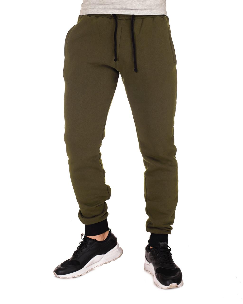 Теплые мужские спортивные штаны на флисе WB размер S оливковые