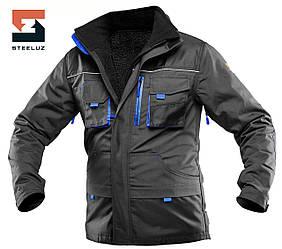 Куртка робоча зі знімною утепленою підкладкою SteelUZ 4S з синьою обробкою, спецодяг