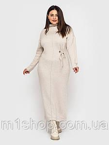 Жіноче довге тепле шерстяне плаття великих розмірів (Робіна lzn)