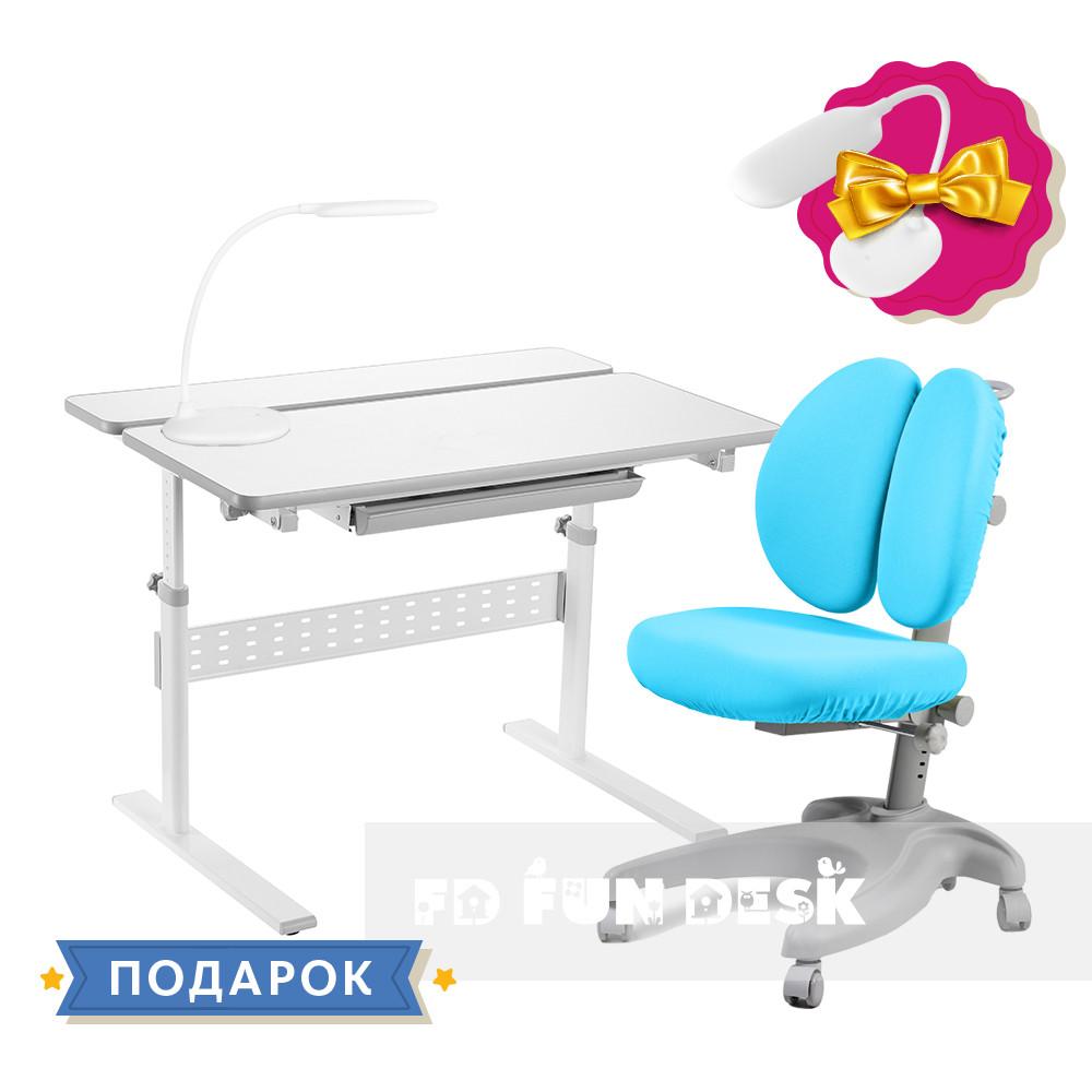 Комплект для школьника 👨🏫 парта-трансформер Fundesk Colore Grey + эргономичное кресло FunDesk Solerte Blue