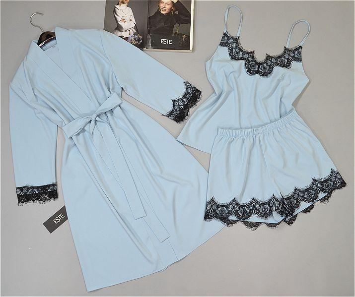 Халат и пижама майка шорты. Комплект тройка с кружевом голубой.
