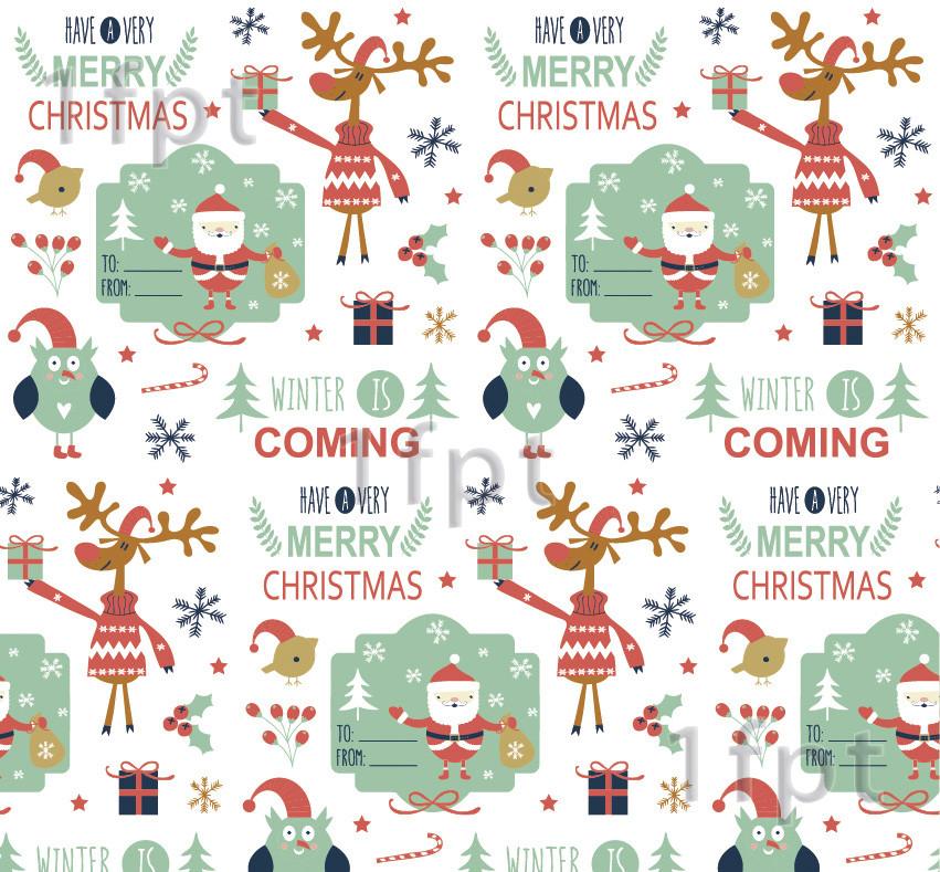 """Подарунковий папір білий крейдований ТМ """"LOVE & HOME"""" фінський принт «Санта» 0,7 x 8 м"""