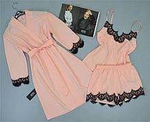 Комплект Халат, піжама ( майка+шорти) персиковий.