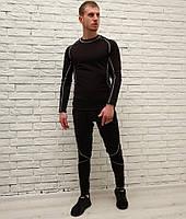 Мужское термобелье комплект ASOS черного цвета теплое с флисом. Живое фото. Реплика
