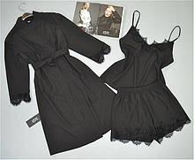 Комплект Халат и пижама ( майка+шорты) черный.