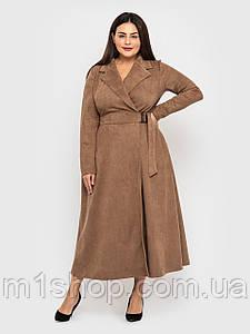 Жіноче довге розкльошені замшеве сукні великих розмірів (Інес lzn)