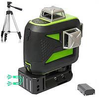 ☀ Зеленый луч ☀ Лазерный уровень Huepar 3D HP-603CG + штатив В ПОДАРОК, фото 1