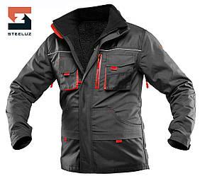 Куртка робоча захисна зі знімною утепленою підкладкою SteelUZ 4S з червоною обробкою, спецодяг