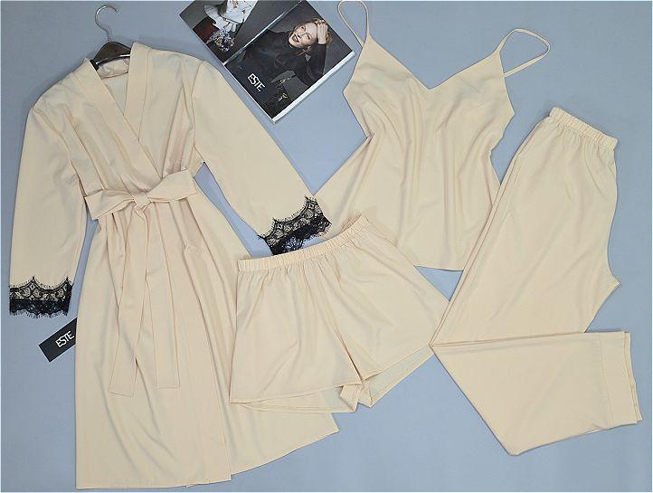 Комплект домашней одежды 4 предмета бежевый.