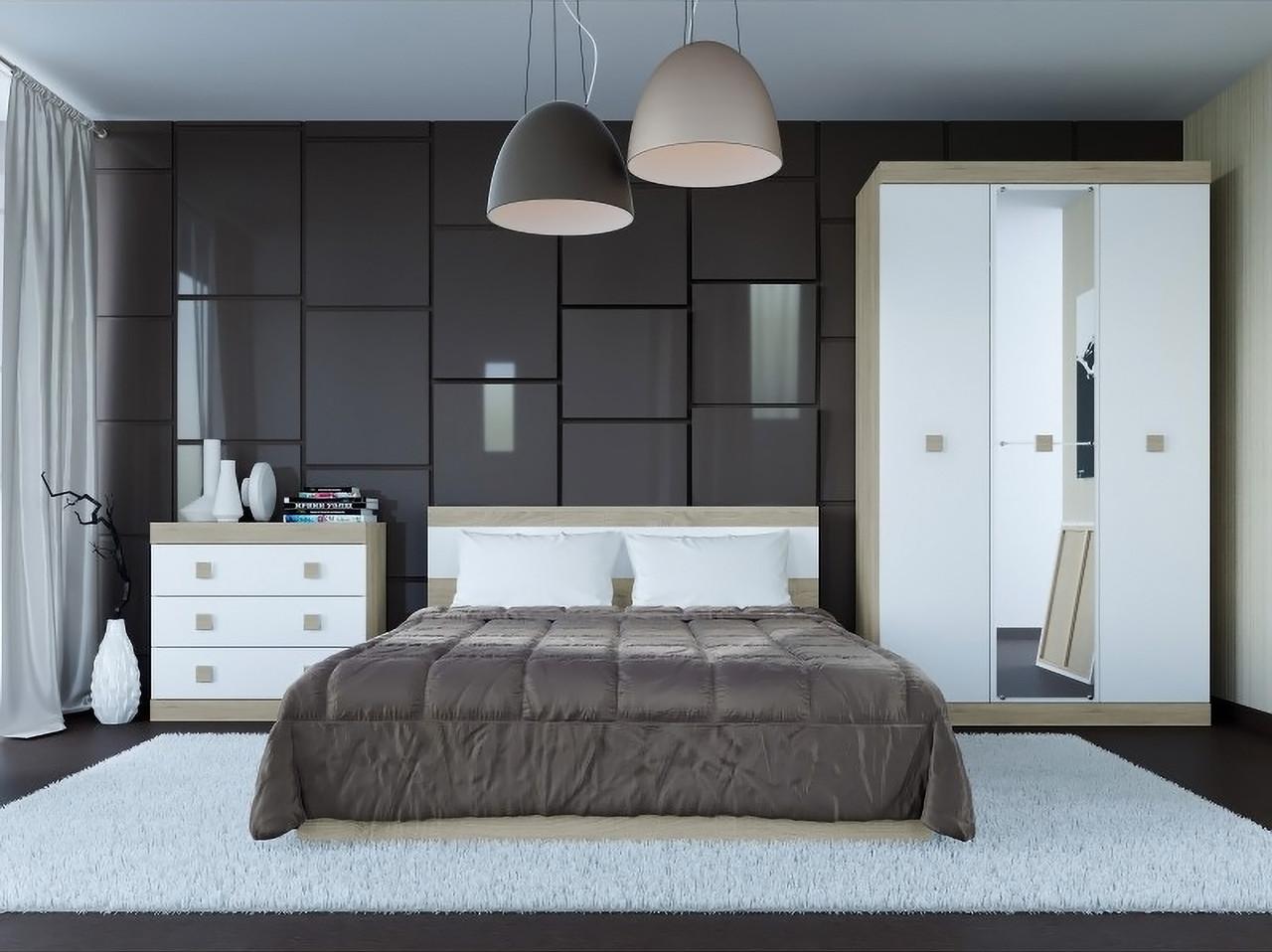 Спальня комплект 1 с зеркалом ЭВЕРЕСТ Дуб сонома + Белый, фото 1
