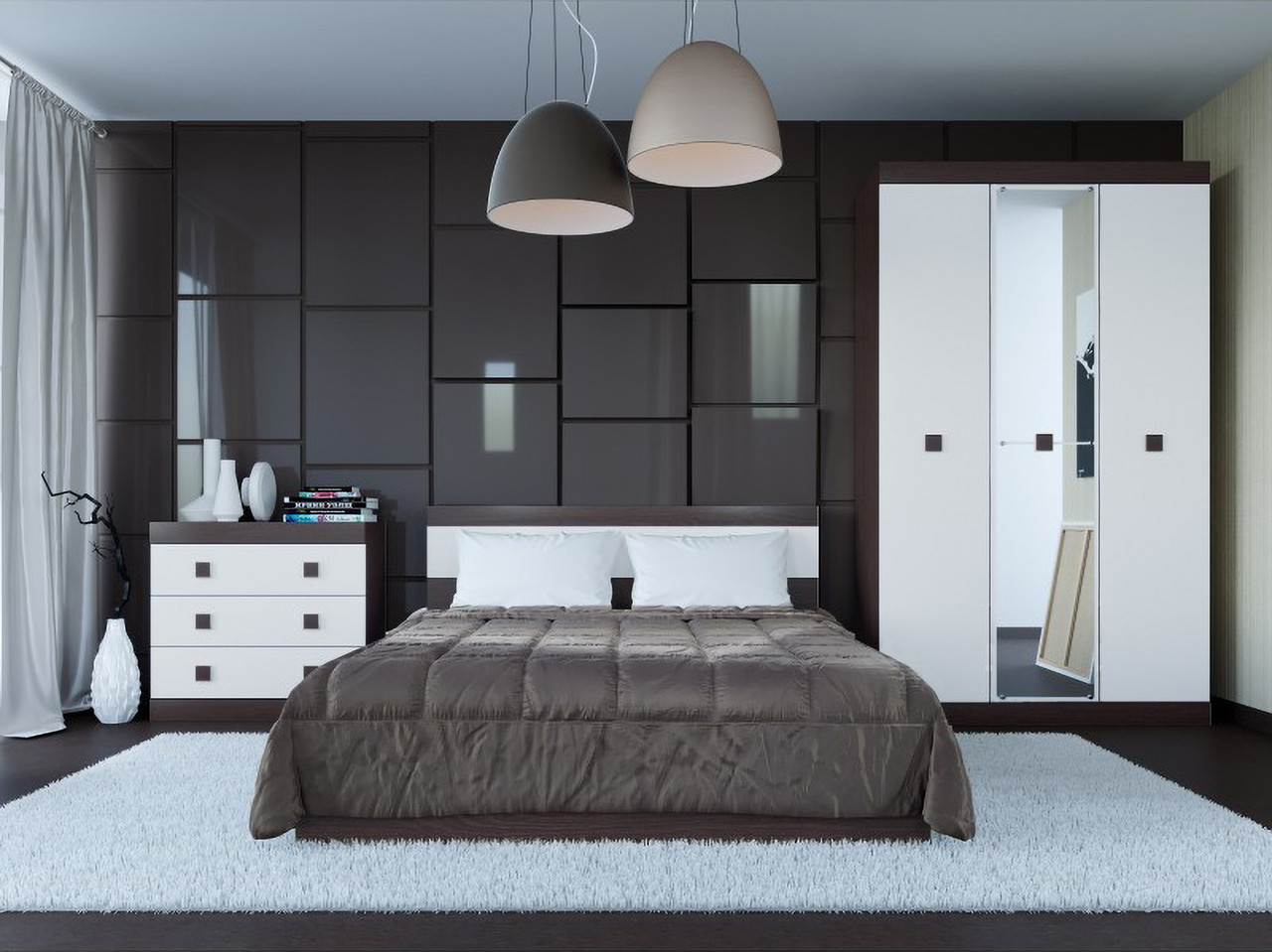 Спальня комплект 1 с зеркалом ЭВЕРЕСТ Дуб сонома + Белый, фото 2
