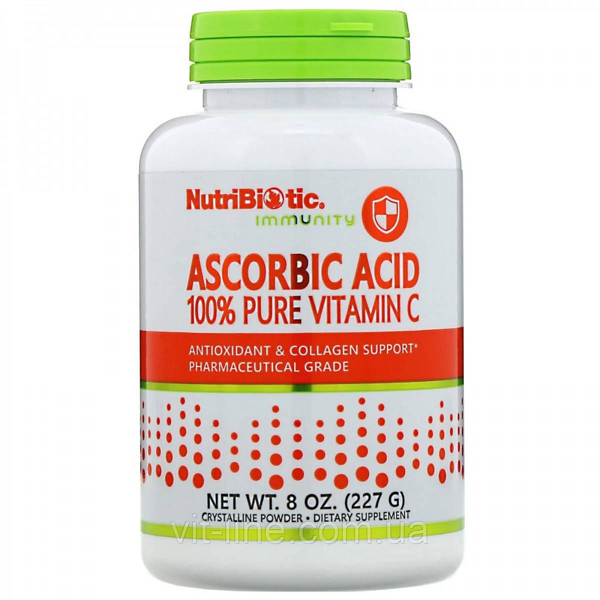 Аскорбиновая кислота 100 % чистый витамин С, кристаллический порошок NutriBiotic  227 г