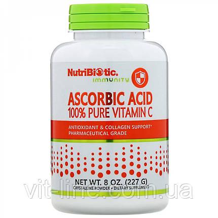 Аскорбиновая кислота 100 % чистый витамин С, кристаллический порошок NutriBiotic  227 г, фото 2