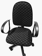 Чехол на офисное кресло черный ткань 00821