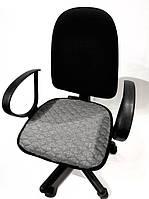 Чехол на сиденье офисного кресла светлый серый ткань 00826