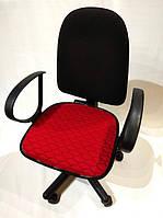 Чехол на сиденье офисного кресла красный ткань 00827