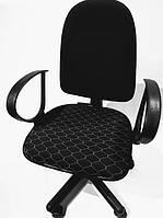 Чехол на сиденье офисного кресла черный ткань 00829