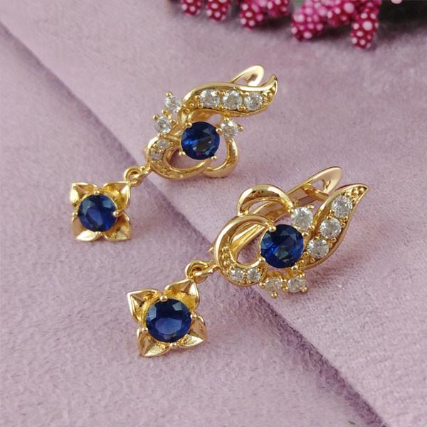 Серьги подвески Xuping Jewelry Фентези синие медицинское золото позолота 18К английский замок А/В 1-0240