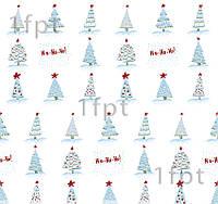 """Подарунковий папір білий крейдований ТМ """"LOVE & HOME"""" фінський принт «Ялинки снігові» 0,7x1 м"""