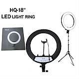 Профессиональная кольцевая лампа HQ 18 с тремя видами света 45 см на 2м штативе, фото 2