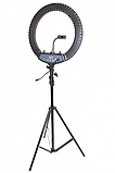 Профессиональная кольцевая лампа HQ 18 с тремя видами света 45 см на 2м штативе, фото 9