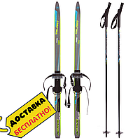 Беговые лыжи спортивные прогулочные с насечками Комплект с палками Zelart 130 см Черный-голубой (SK-0881-130B)