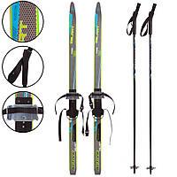 Беговые лыжи спортивные прогулочные с насечками ZELART Комплект с палками 150 см Черный-голубой (SK-0881-150B)