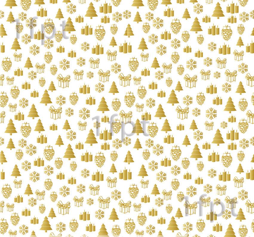 """Подарунковий папір білий крейдований ТМ """"LOVE & HOME"""" фінський принт «Ялинки Gold» 0,7x10 м"""