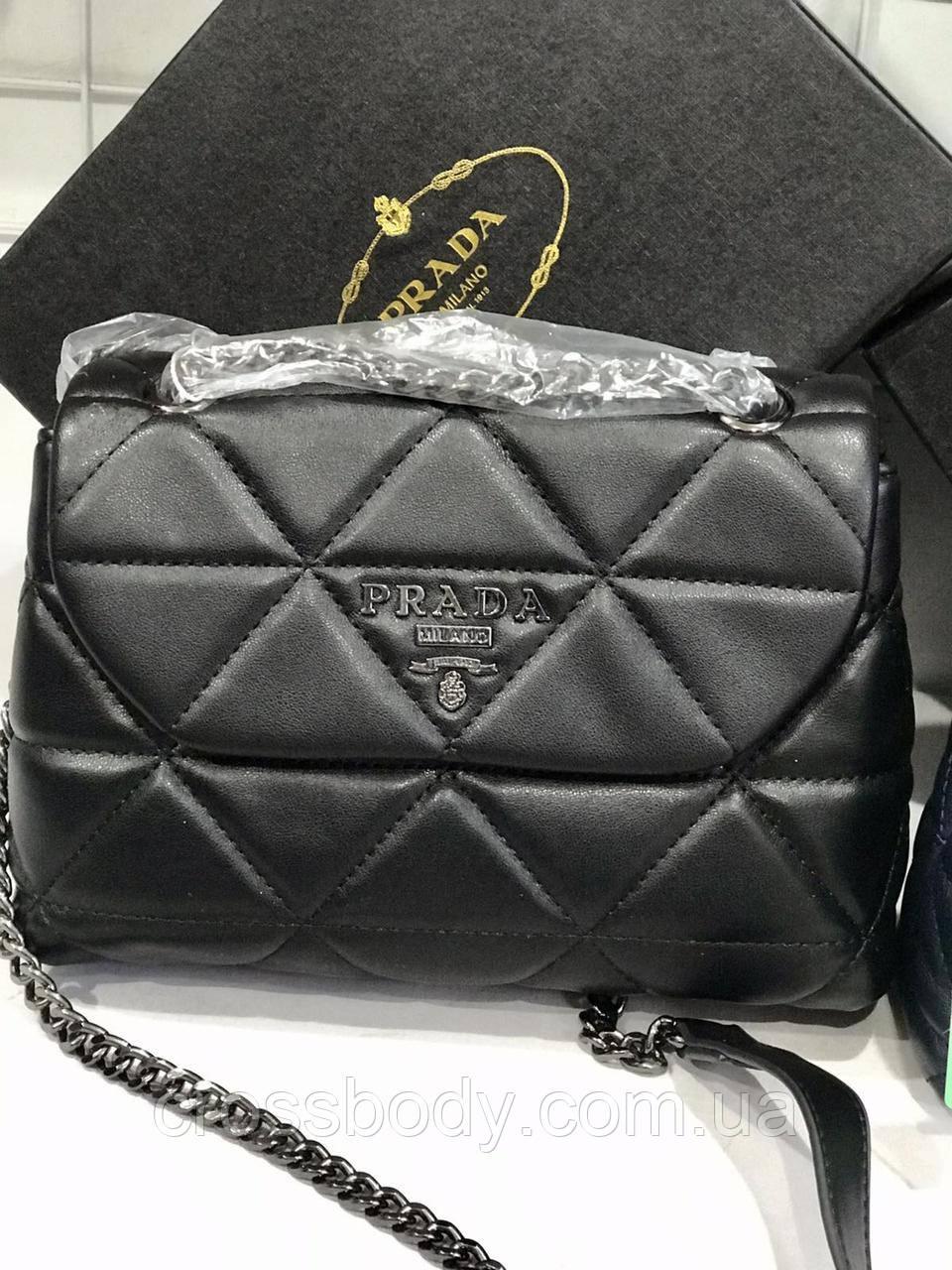 Женская сумка Prada в стиле черная пыльник коробка документ