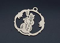 Деревянная новогодняя игрушка заготовка украшение из фанеры Снеговик 85 мм, толщина 3 мм. Новорічна прикраса