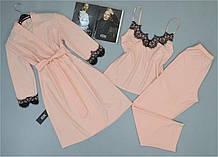 Комплект з мереживом халат, піжама ( майка+штани) персиковий.