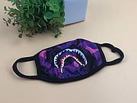 Маска защитная на лицо многоразовая A Bathing Ape Bape Бафф Shark Камуфляж Хаки Фиолетовая