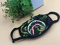 Маска защитная на лицо многоразовая A Bathing Ape Bape Бафф Shark Камуфляж Хаки Зеленая