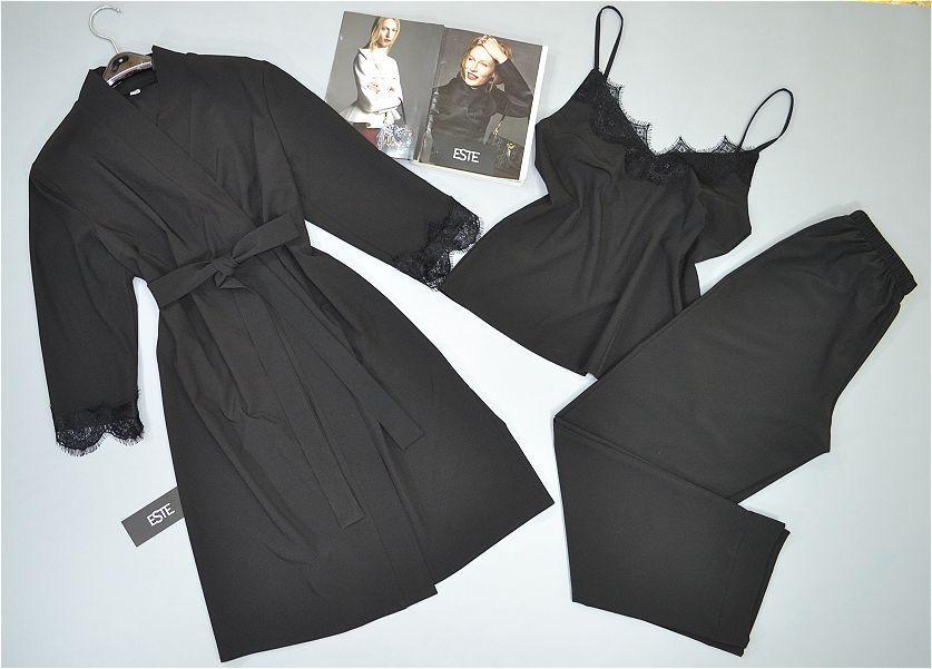 Комплект с кружевом халат и пижама ( майка+штаны) черный.