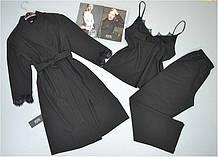 Комплект з мереживом халат, піжама ( майка+штани) чорний.